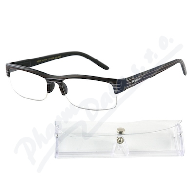 Brýle čtecí +1.50 černé s pruhy a pouzdrem