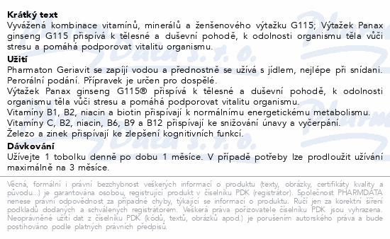 Pharmaton Geriavit por.cps mol.100 CZ